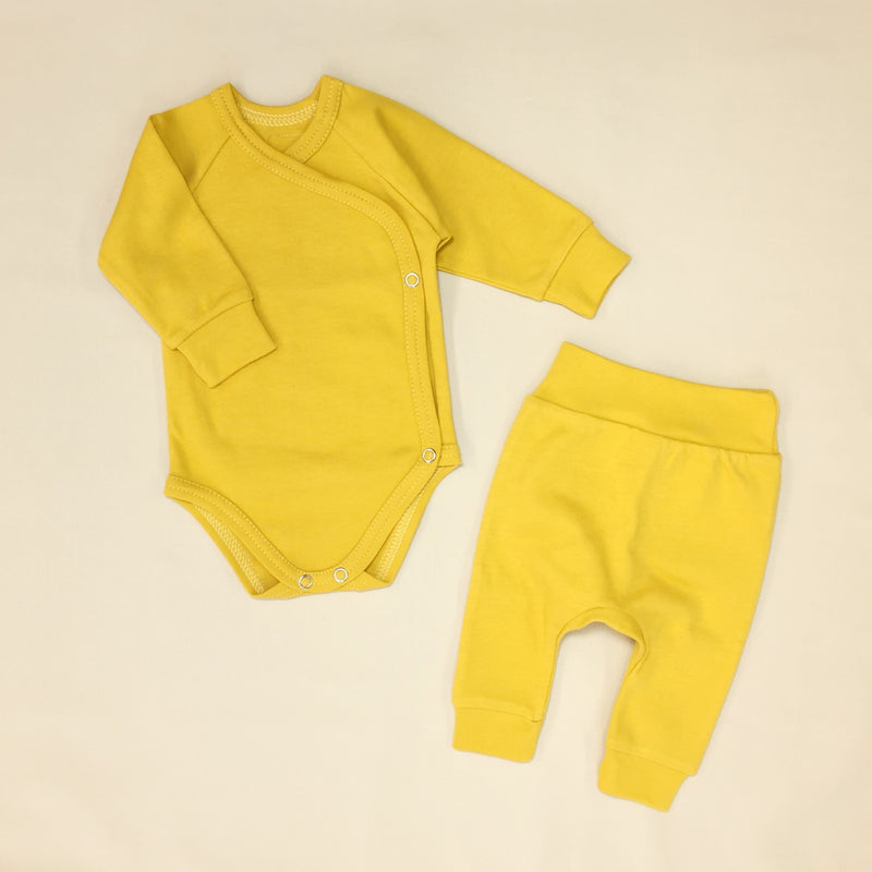 gold kimono bodysuit and harem pant cotton baby clothes