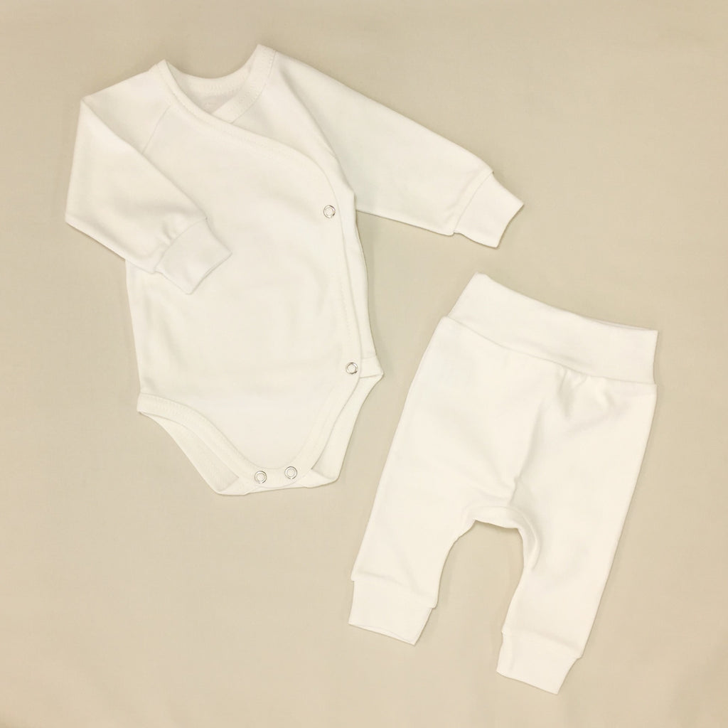 ivory kimono onesie and harem pant cotton baby clothes