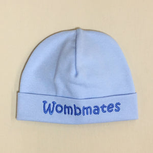 Wombmates embroidered baby hat in Blue Made in Canada
