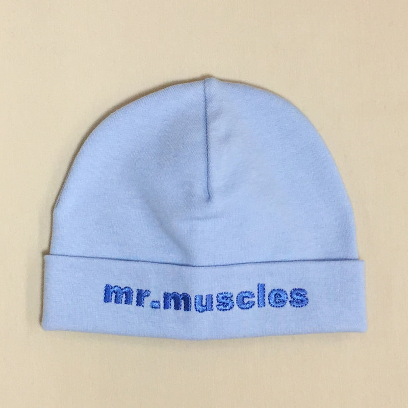 Mr Muscles embroidered baby hat in blue Made in Canada