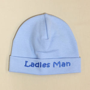 Ladies Man embroidered baby hat in blue Made in Canada