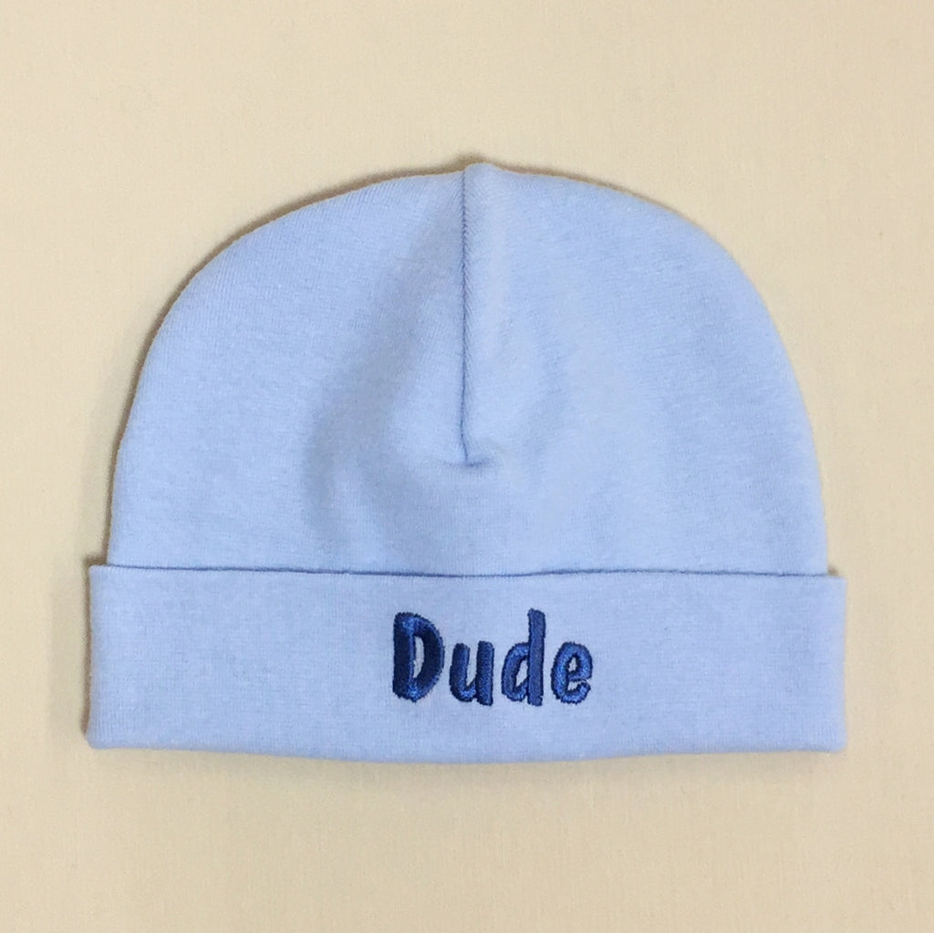 Dude embroidered baby hat in blue Made in Canada