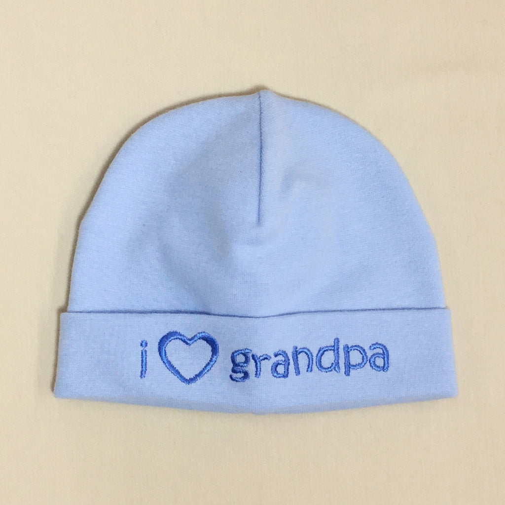 I Love Grandpa embroidered baby hat in blue Made in Canada