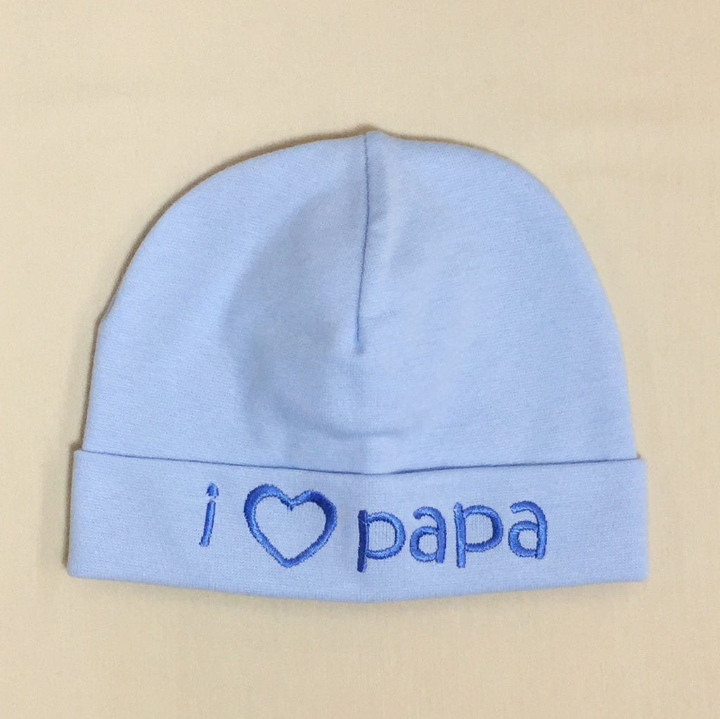 I Love Papa embroidered baby hat in blue Made in Canada