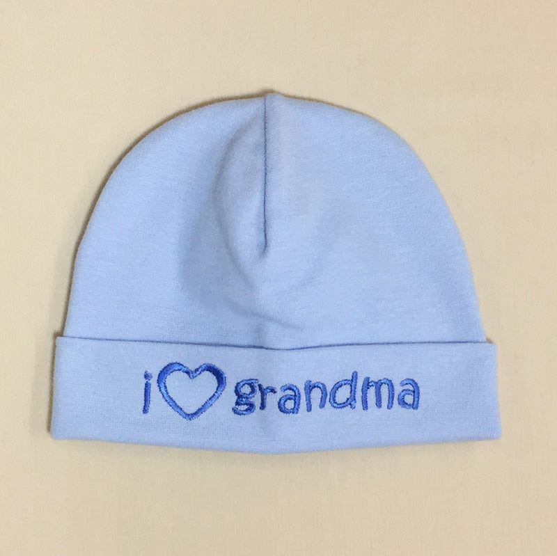 I Love Grandma embroidered baby hat in blue Made in Canada
