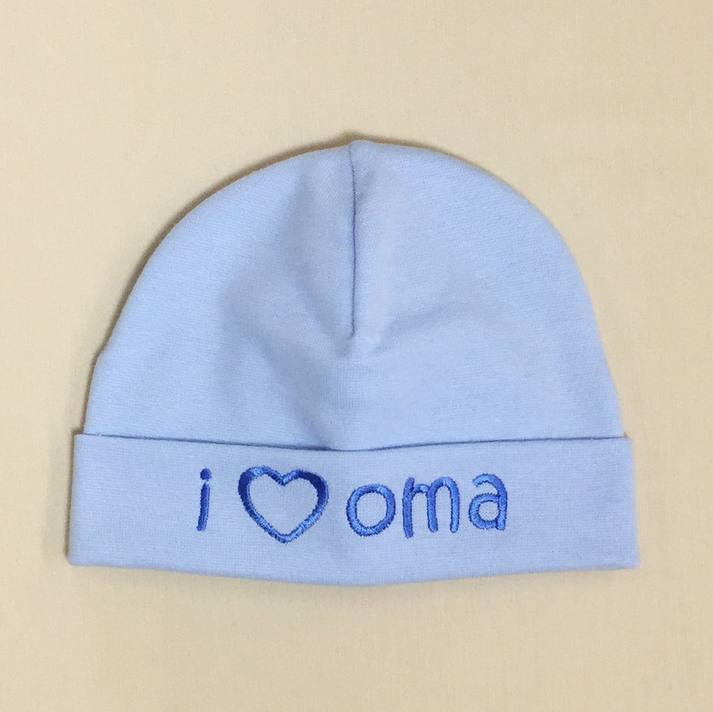 I Love Oma embroidered baby hat in blue Made in Canada
