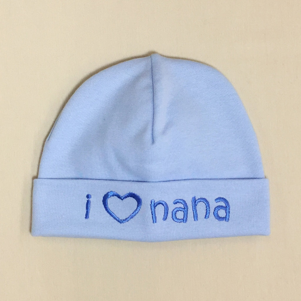 I Love Nana embroidered baby hat in blue Made in Canada