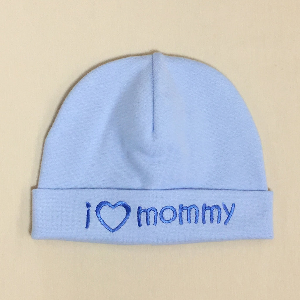 I Love Mommy embroidered baby hat in blue made in Canada