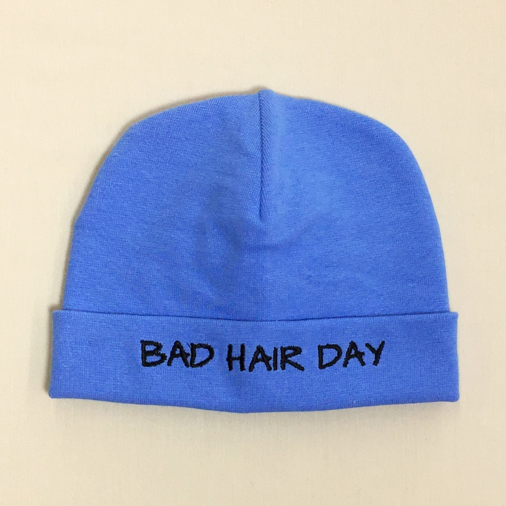 Bad Hair Day embroidered baby hat in Deep Blue made in Canada