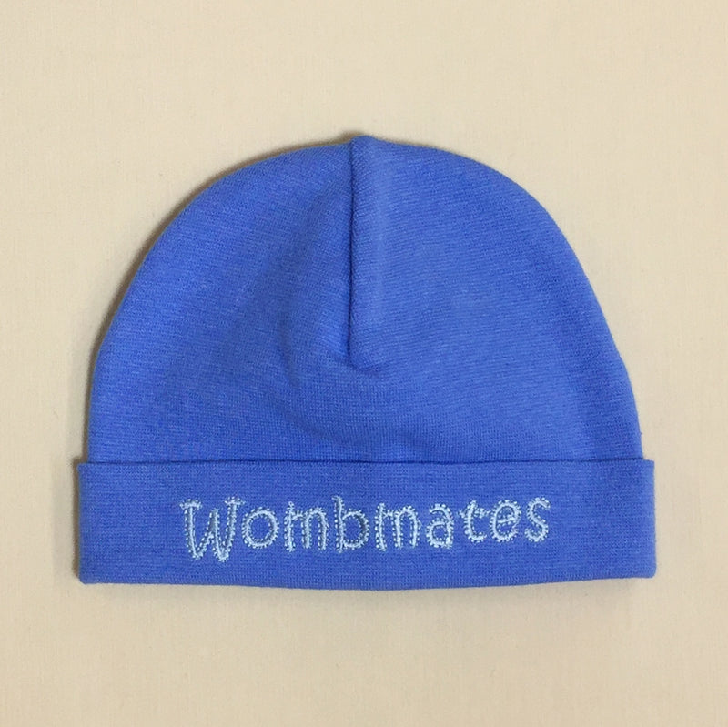 Wombmates embroidered baby hat in Deep Blue Made in Canada