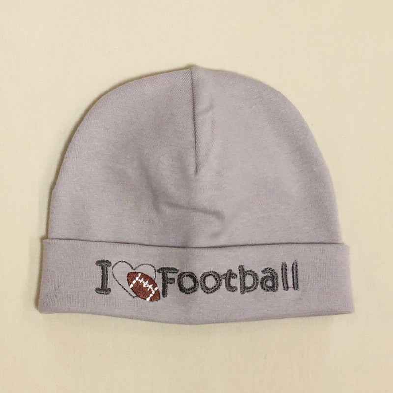 I Love Football embroidered baby hat in silver Made in Canada