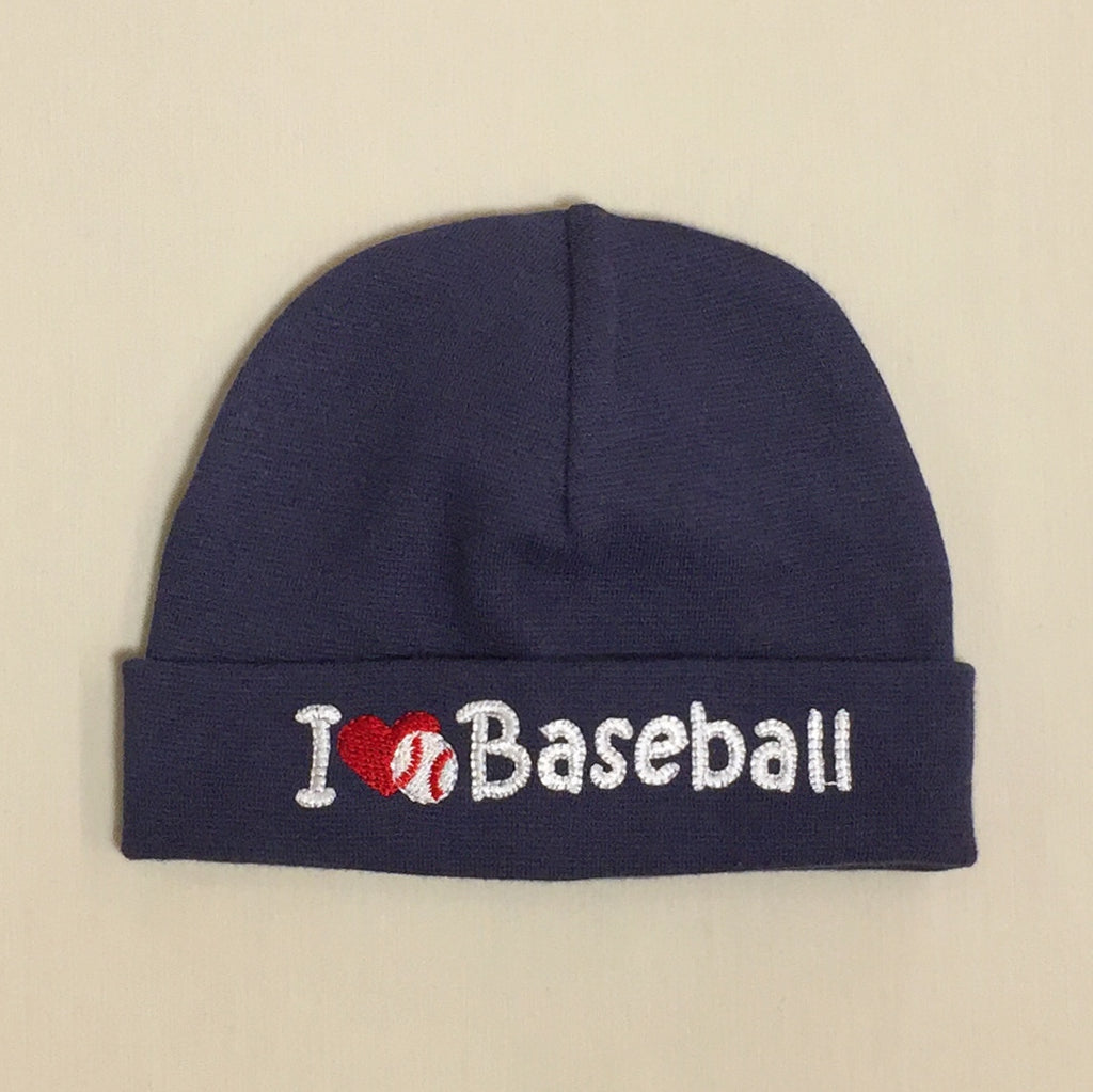 I Love Baseball embroidered baby hat in navy Made in Canada