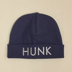 Hunk embroidered baby hat in navy Made in Canada