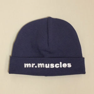 Mr Muscles embroidered baby hat in Navy Made in Canada