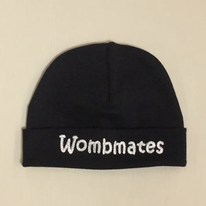Wombmates embroidered baby hat in Black Made in Canada
