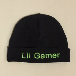 Lil Gamer embroidered baby hat in black Made in Canada