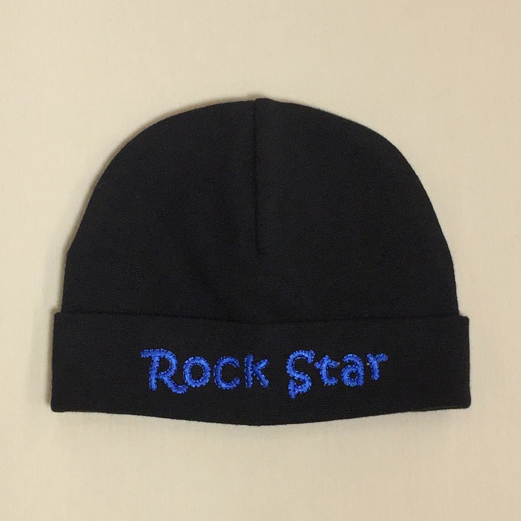 Rock Star embroidered baby hat in Black Deep Blue Made in Canada