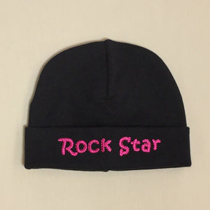 Rock Star embroidered baby hat in Black Fuchsia Made in Canada