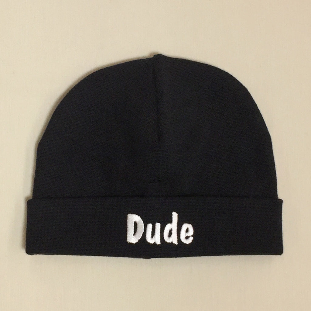 Dude embroidered baby hat in black Made in Canada