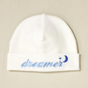 Dreamer embroidered baby hat in blue Made in Canada