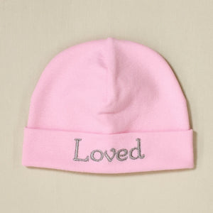 Loved embroidered baby hat in pink Made in Canada