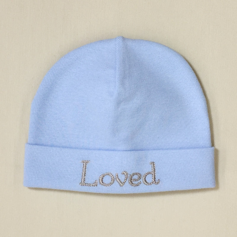 Loved embroidered baby hat in blue Made in Canada