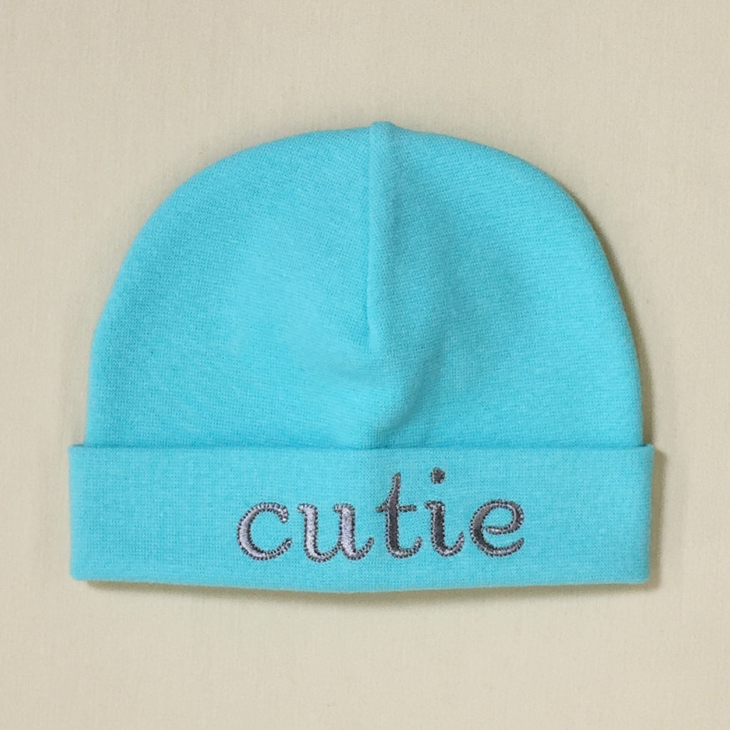 Cutie embroidered baby hat in Turquoise Made in Canada