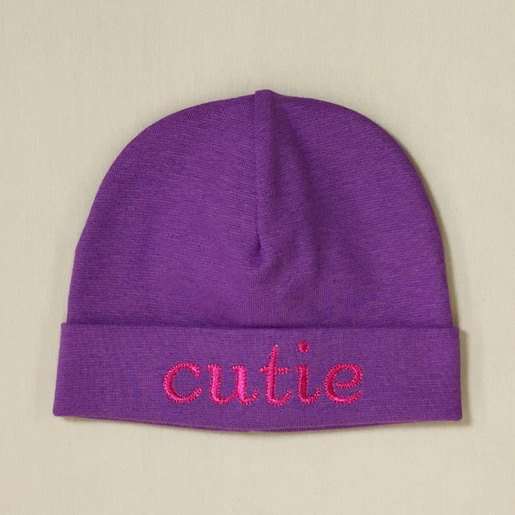 Cutie embroidered hat made from soft & stretchy knit preemie baby