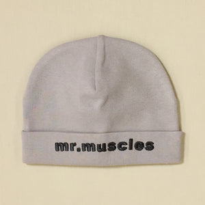 Mr Muscles embroidered baby hat in silver Made in Canada