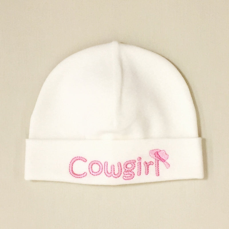 Cowgirl embroidered hat made from soft & stretchy knit preemie baby