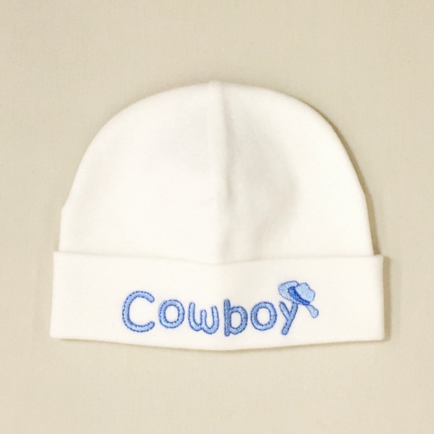 Cowboy embroidered baby hat in cream Made in Canada