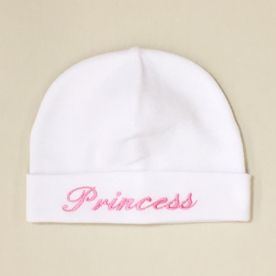 Princess embroidered baby hat in white pink Made in Canada