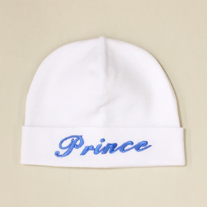 Prince embroidered baby hat in white Made in Canada