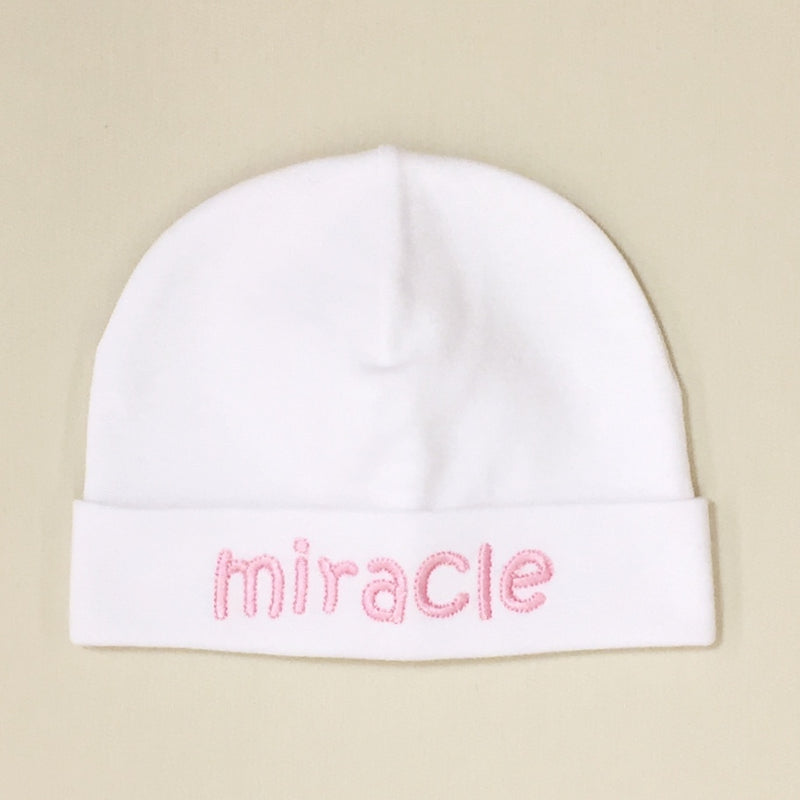 Miracle embroidered baby hat in pink Made in Canada