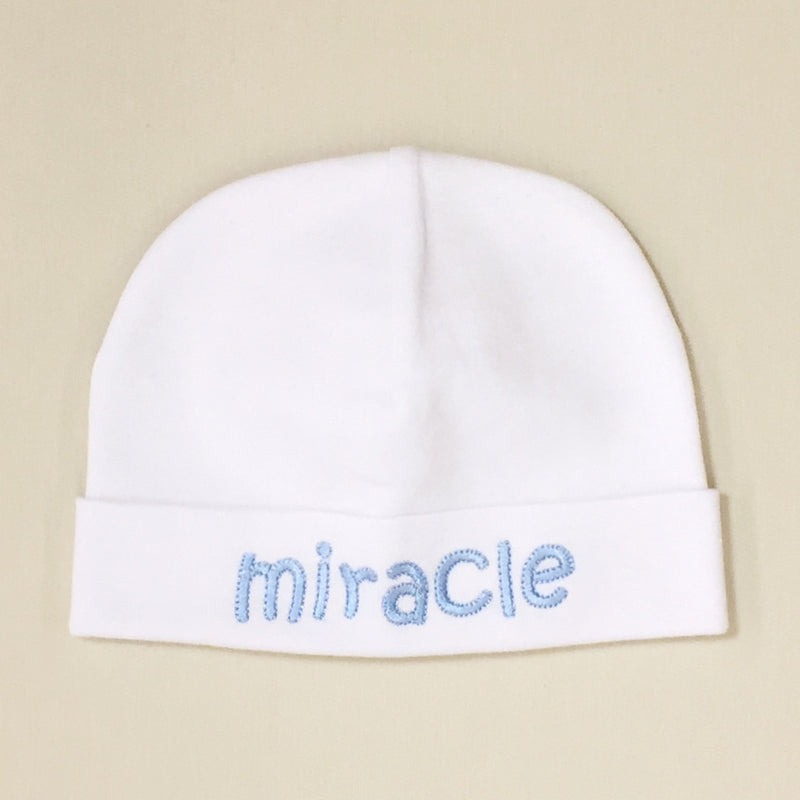 Miracle embroidered baby hat in blue Made In Canada