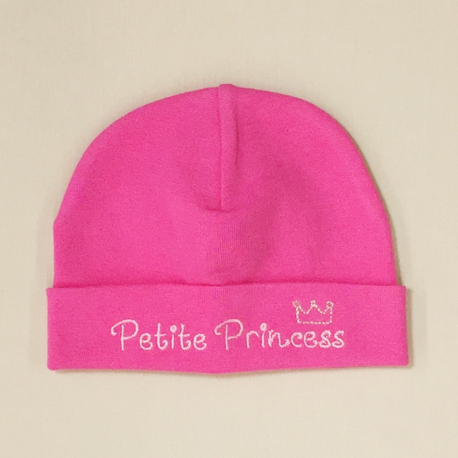 Petite Princess embroidered baby hat in Fuchsia Made in Canada