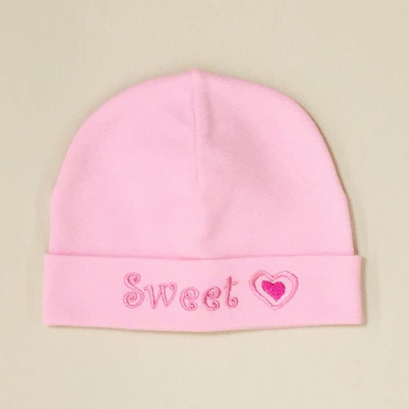 Sweet Heart embroidered baby hat in pink Made in Canada