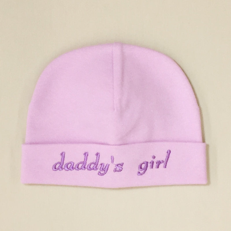 Daddy's Girl embroidered baby hat in Lilac made in Canada