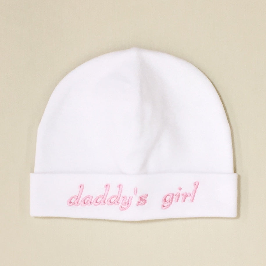 Daddy's Girl embroidered baby hat in White Made in Canada