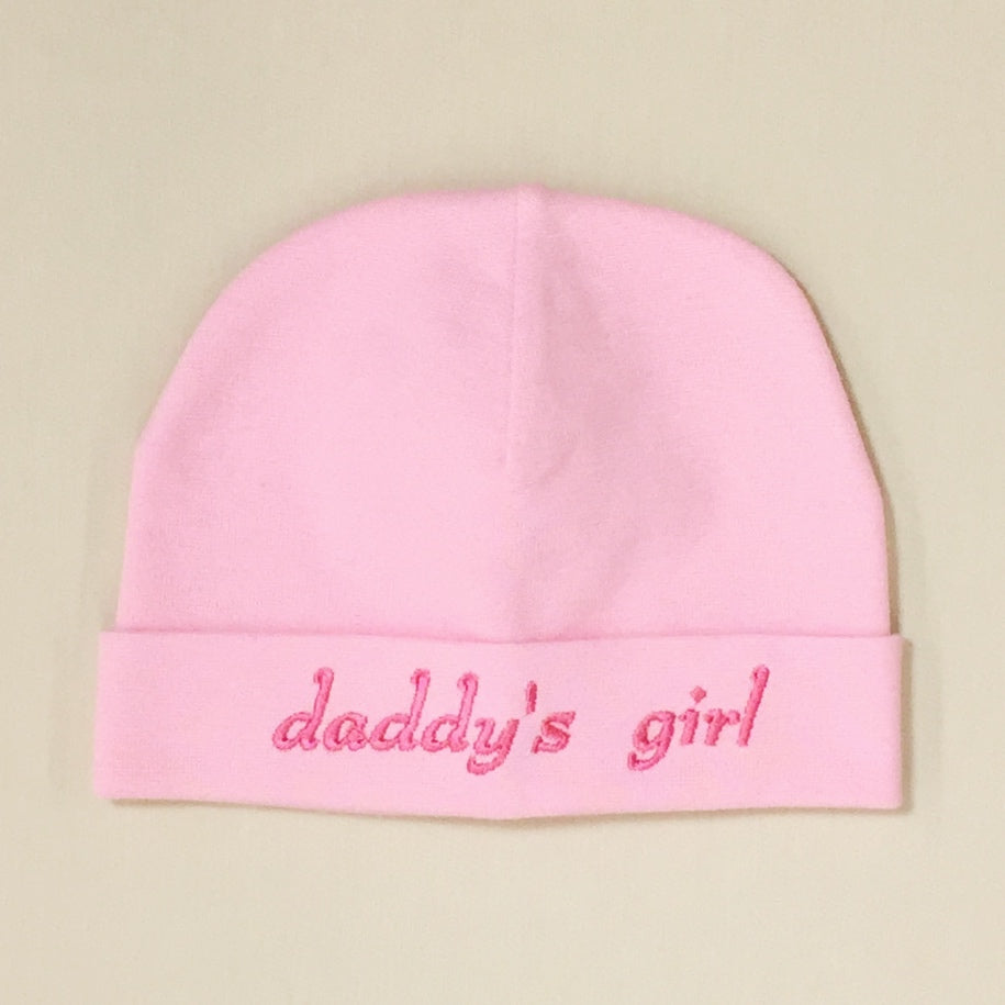 Daddy's Girl embroidered baby hat in Pink Made in Canada