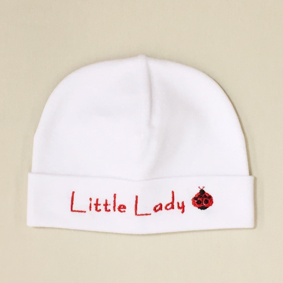 Little Lady embroidered baby hat in White Made in Canada
