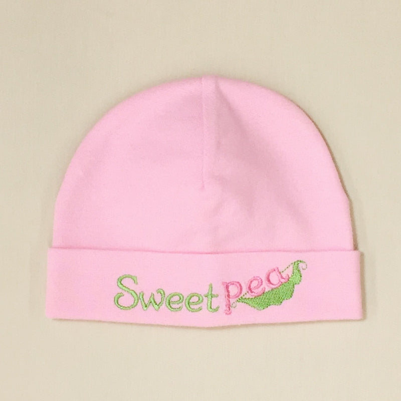 Sweet Pea embroidered baby hat in pink Made in Canada