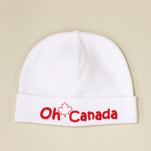 Oh Canada embroidered baby Hat in White Made In Canada