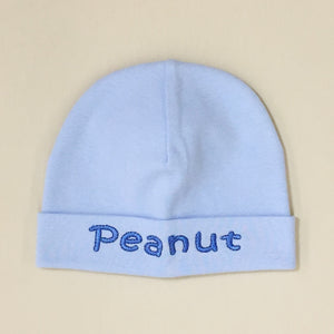 Peanut embroidered baby hat in blue Made in Canada