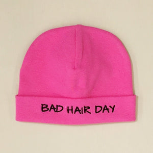 Bad Hair Day embroidered baby hat in Fuchsia Made in Canada