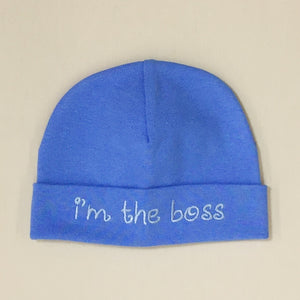 I'm the Boss embroidered baby hat in Deep Blue Made in Canada