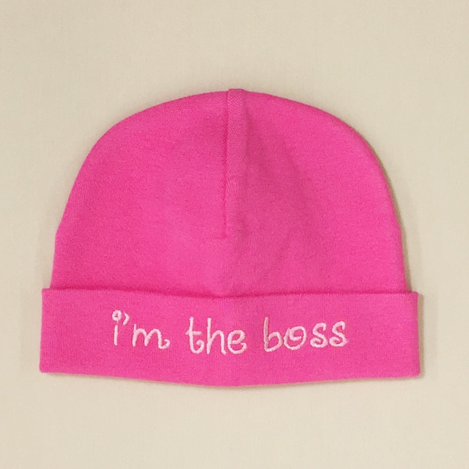 I'm the Boss embroidered baby hat in Fuchsia Made in Canada
