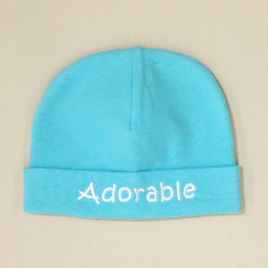 Adorable embroidered hat made from soft & stretchy knit preemie baby