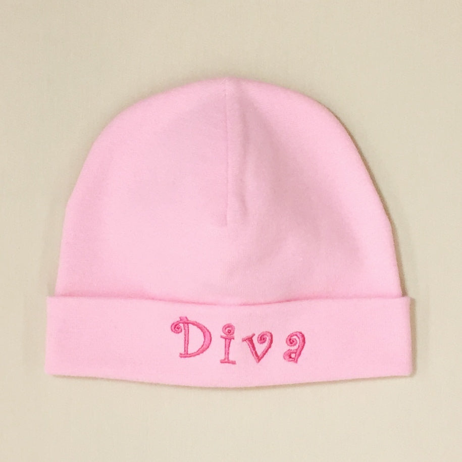 Diva embroidered baby hat in pink Made in Canada