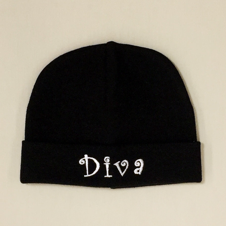 Diva embroidered baby hat in black Made in Canada